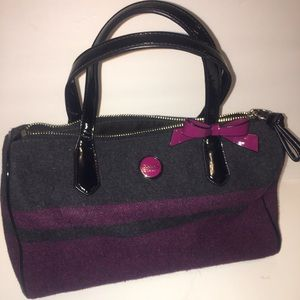 Coach purple and black wool satchel bag with bow